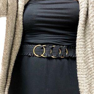 Accessories - Vintage Gold Ring Black Ruched Belt